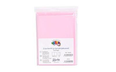 Karto askartelukortti + tarrakuori, vaaleanpunainen