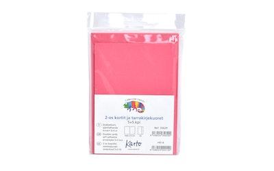 Karto askartelukortti + tarrakuori, tumma rosa