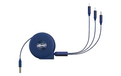 Waltter kelautuva 3in1-kaapeli sininen