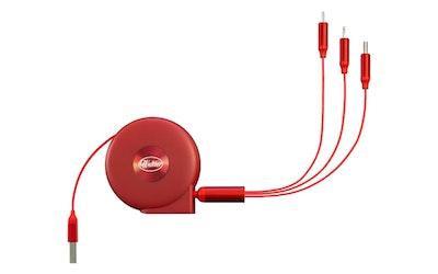 Waltter kelautuva 3in1-kaapeli punainen