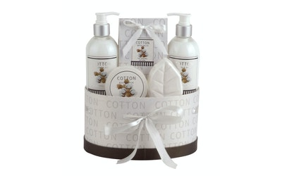 Cotton 5kpl lahjasetti suihkusaippua, vartalovoide, vartalon kuorinta-aine, kylpysuola, saippua