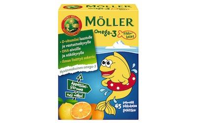 Möller 54g/45kpl omega-3 pikkukalat appelsiinin- ja sitruunanmakuinen omega-3-rasvahappo-D-vitamiini
