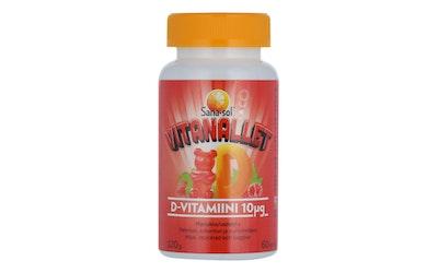 Sana-sol Vitanallet D-vitamiini 60kpl 10µg mansikka-vadelma