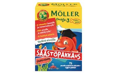 Möller Omega-3 Pikkukalat säästöpakkaus vadelmainen pehmeä pureskeltava 72kpl