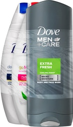 Dove & Dove Men+Care suihkusaippua 3x250ml