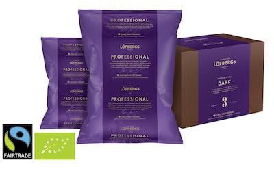 Löfbergs Professionell Dark Luomu Reilun kaupan 12x500g kahvi puolikarkea jauhatus 1,5