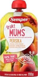 Semper 110g Fruktmums Persika persikkaa, omenaa ja banaania alkaen 6 kk täyshedelmäsose