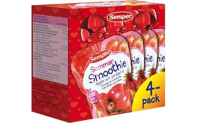 Semper smoothie Sommar omenaa ja mansikkaa 4x90g alkaen 6kk