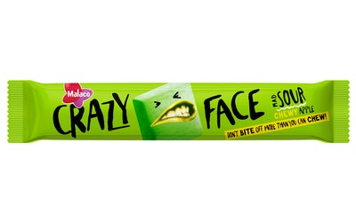 Malaco Crazy Face 34g Apple toffee