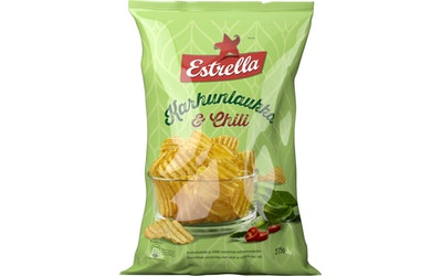 Estrella 275g karhunlaukka-chili chips