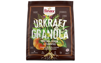 Finax Granola 408g Inkivääri Päärynä Kurpitsansiemen