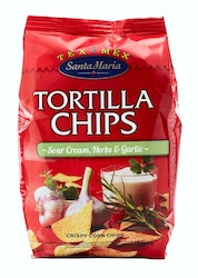Santa Maria Tex Mex Tortilla Chips Sour Cream, Garlic & Herbs 200 g