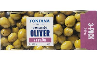 Fontana vihreä oliivi valkosipulilla 3 x 120g/50g