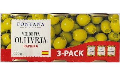 Fontana vihreä oliivi paprikalla 3 x 120g/50g