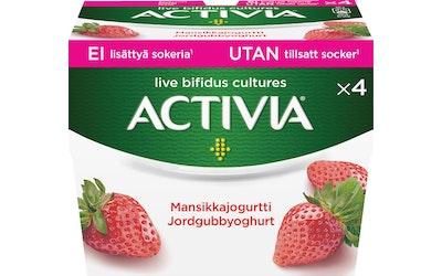 Danone Activia mansikkajogurtti 4x125g ei lisättyä sokeria