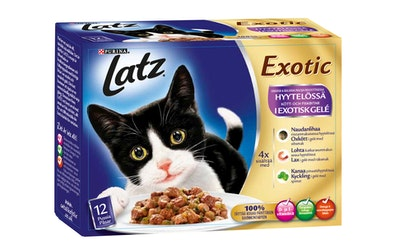 Latz Exotic Lihaisia & Kalaisia paloja Hyytelössä 12x100g kissanruoka