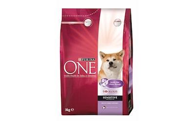 Purina ONE Sensitive Runsaasti Kalkkunaa, sisältää Riisiä 3kg koiranruoka