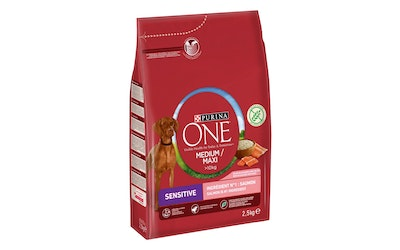Purina One Sensitive Medium Maxi 2,5kg lohi riisi