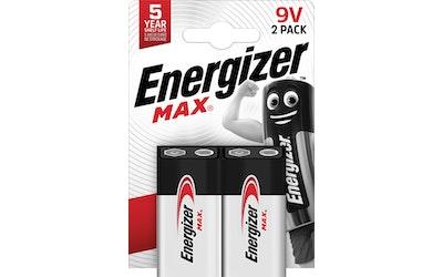 Energizer Max 9V 2 kpl alkaliparisto
