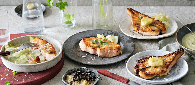Grillattu lohimedaljonki ja valkoviini-salottisipulivoi