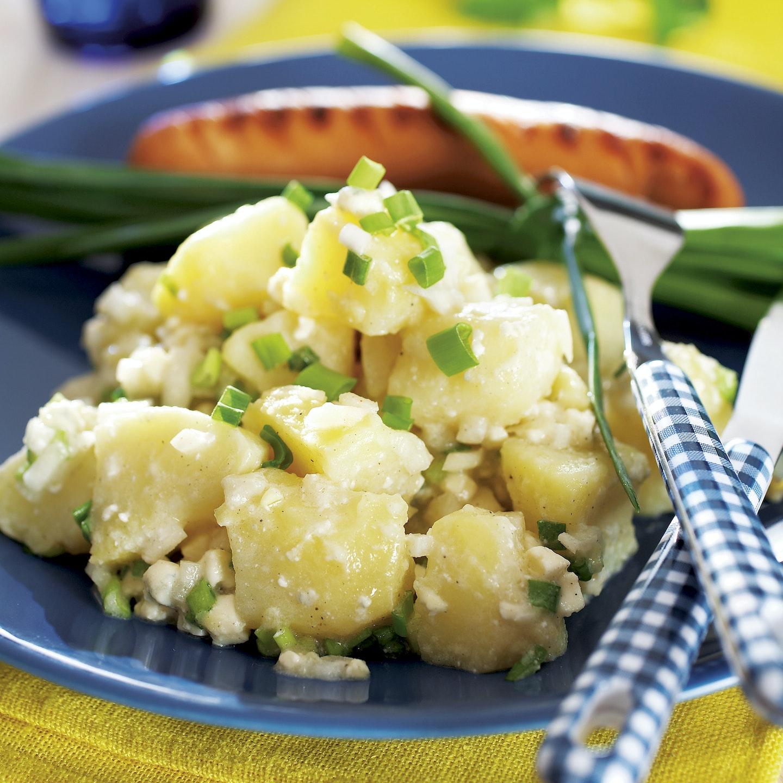 Sinihomejuustoinen perunasalaatti