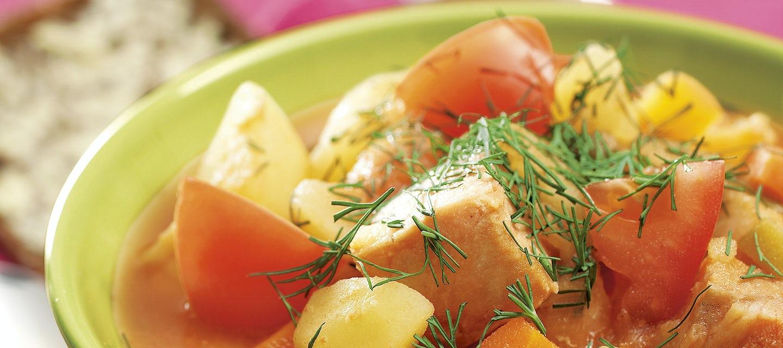 Tomaattinen kahden kalan keitto