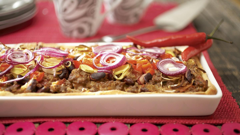 Meksikolainen jauheliha-papupiiras