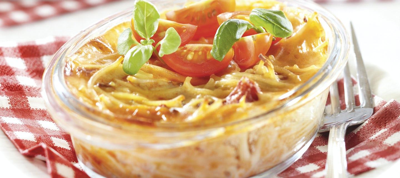 Mehevä jauheliha-spagettivuoka