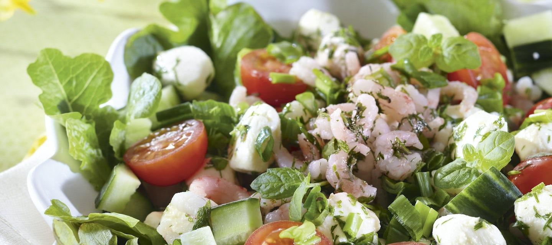 Mozzarella-katkarapusalaatti