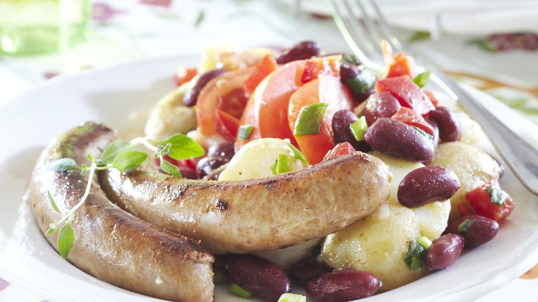 Kreikkalainen peruna-papusalaatti