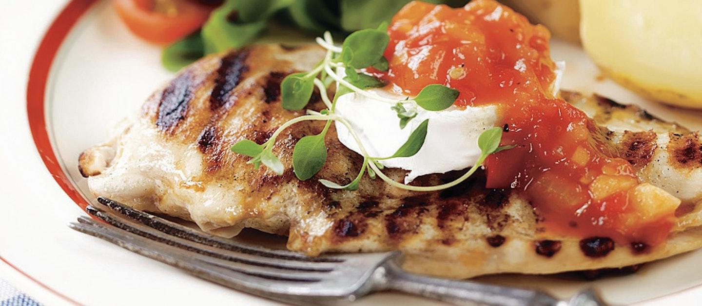 Vuohenjuustobroileri ja tulinen tomaatti-paprikahillo
