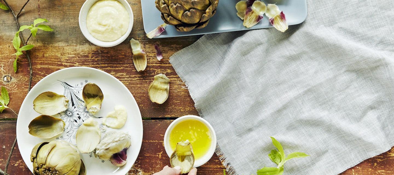 Latva-artisokka, sitruunavoi ja parmesaanimajoneesi