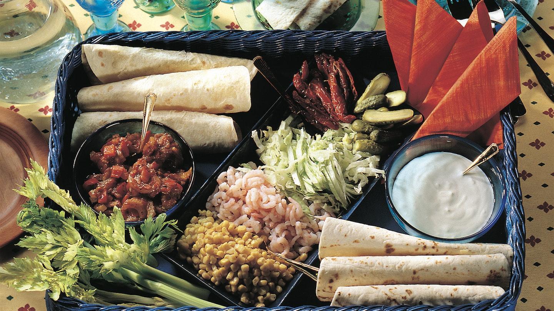 Katkarapu-kasvistäytteiset tortillat
