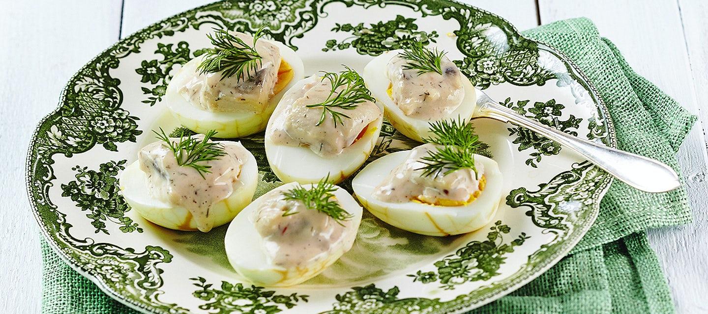 Sillitäytteiset kananmunat