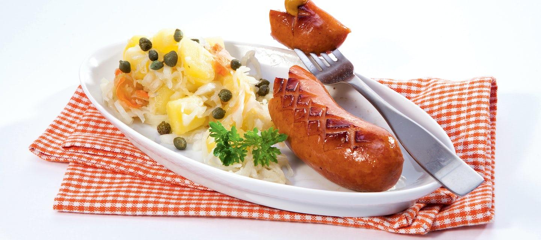 Marinoitu peruna-hapankaalisalaatti